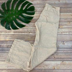 Pilcro cream wide leg lightweight linen pants